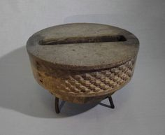 CANALE - A Concrete Iron Footed and Slotted Vessel