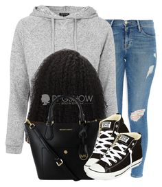 """""""."""" by trillest-queen ❤ liked on Polyvore featuring Frame Denim, Topshop and Converse"""