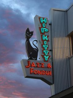Jazz & fondue - and a very cool mid Century style cat. Claremont, CA
