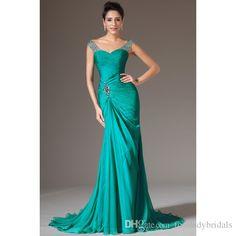 Victorian Green Cap Sleeves Prom Dresses Mermaid 2015 Evening Gowns Long Pageant Dress For Girls Beaded Vestidos De Festas Custom Size Made