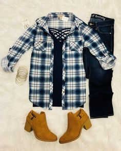 Penny Plaid Flannel Top: Blue from privityboutique