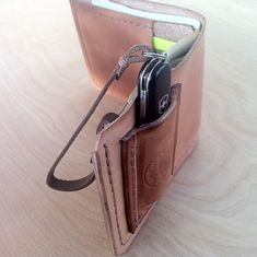 Custom leather wallet with Swiss Army Knife pocket - detail mens leather wallets