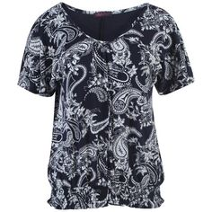 Womens Floral V Neck Short Sleeve Top Ladies Flower Print Baggy Top Size 14 - 24 (M/L, NAVY PAISLEY 2)