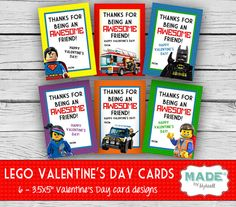 Printed LEGO Valentine's Day Cards, Kids Valentines Day Cards - DIY Valentines - Kids Valentines, Printed
