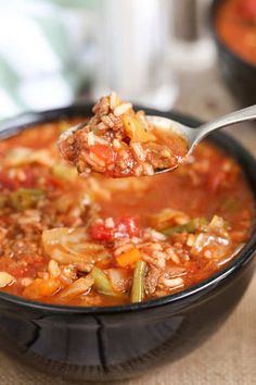 Jan 2020 - This Crock Pot Cabbage Roll Soup is a twist on traditional Cabbage Rolls, for a fraction of the work. With ground beef, cabbage, onion and vegetables; simmered in a rich tomato sauce in your slow cooker. Crockpot Cabbage Roll Soup, Slow Cooker Cabbage Rolls, Lazy Cabbage Rolls, Crock Pot Cabbage, Cabbage Rolls Recipe, Cabbage Recipes, Crock Pot Recipes, Crock Pot Soup, Slow Cooker Soup