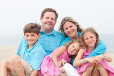 Nantucket family beach portrait in colorful clothing