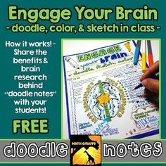 """Free """"Engage Your Brain """"Doodle Notes by Math Giraffe Math Expressions, Free Doodles, Brain Based Learning, Algebra Worksheets, Daily Math, Brain Activities, Interactive Notebooks, Your Brain, Dyslexia"""