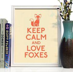 Foxes, animal, cute, keep calm, wall art, giclee, home decor, kids room, house