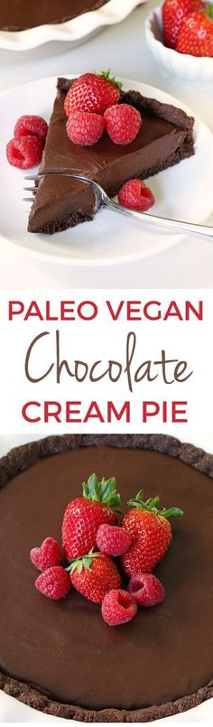 Paleo vegan chocolate cream pie with an ultra silky chocolate filling and a chocolate cookie / brownie crust! Made without tofu. Prefer a chocolate fudge pie? Serve it cold for a fudgy texture.