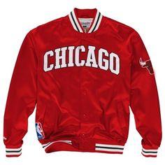Mitchell & Ness Chicago #Bulls Third Quarter Satin Button-Up Jacket - Red $169.95