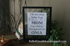 Great free Christmas gift idea - Free Printable -The Only Thing Better than Having you for a Mom is my kids having you for a (Grandma, Oma, Nanna). All three available for free download