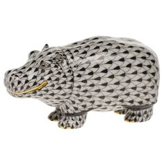 Hippo Collectibles | Herend Hippo Black Fishnet