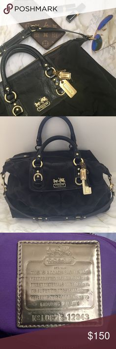 "✨HP✨ Coach Black Madison OpArt Canvas Sabrina Bag Authentic, previously loved Coach bag. Gold-tone hardware, black leather and patent leather trim and accents, patent leather top handles (5.5""), removable leather shoulder strap (13"") four protective metal feet (slight wear, see pic) and a top zipper closure with patent leather zipper pull. Interior is lined in lilac fabric (few marks, see pic) with a side zipper pocket, a cell phone/accessory pocket, and a D-ring. Small signs of wear. 16.5""…"