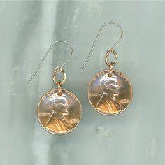50th Birthday Gift 50th Anniversary 1964 Penny Earrings 1964 Earrings Copper Dangle Coin Earrings