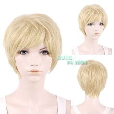 25Cm Heat Resistant Short Layered Blonde Anime Cosplay Hair Wig