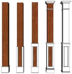 Square HALF Recessed Paneled Hardwood Column I Elite Trimworks Fiberglass Columns, Interior Columns, Porch Columns, Columns Decor, Porch Posts, Column Design, Half Walls, Stair Railing, Stairs
