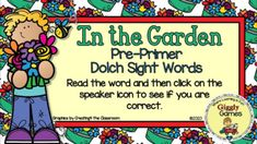 This interactive internet resource makes a fun and educational way to learn or review pre-primer sight words. This activity is played in preview mode. The student says the sight word and then clicks on the speaker icon to hear if they are correct. The game is entertaining, encouraging, and self-chec... Pre Primer Sight Words, Dolch Sight Words, File Folder Games, Early Childhood Education, Learning Centers, Encouragement, Student, Entertaining, Activities