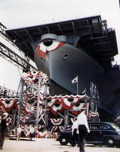 Launching ceremony of carrier Wasp, Bethlehem Steel Company shipyard, Quincy, Massachusetts, 17 Aug 1943 (US National Archives)