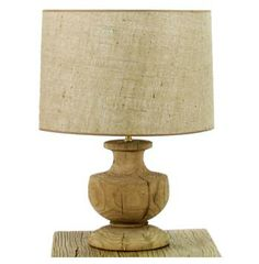 York French Country Vintage Burlap Shade Wire Urn Lamp