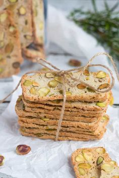Pistachio, Lemon & Rosemary Biscotti make the ideal last minute gift. Keep a loaf of dough in the freezer for emergencies, & never be without a gift again. Biscotti Cookies, Biscotti Recipe, Baking Recipes, Cookie Recipes, Appetizer Recipes, Dessert Recipes, Appetizers, Pistachio Biscotti, Biscuits