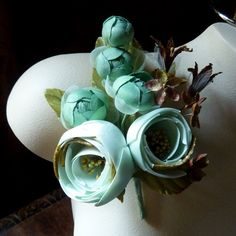 SALE Silk Roses in Jade Satin and Velvet Magnificent for Bridal, Floral Supply, Millinery MF 104