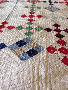 Vintage / Antique Quilt Beautiful Mix of hand stitiched antiqueFabric, eBay, ocwm