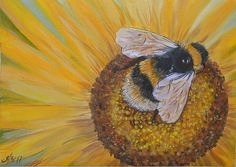 Oil painting depicting a bee on a sunflower in happy yellow colors for Home decor