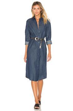 BLQ BASIQ Chambray Shirt Dress in Dark Denim | REVOLVE