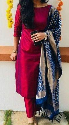 salwar designs for stitching / salwar designs . salwar designs for stitching . Churidar Designs, Kurta Designs Women, Patiala Suit Designs, Sari Design, Red Kurti Design, Design Design, Dress Indian Style, Indian Outfits, Party Wear Indian Dresses