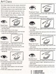 Eye make-up technique for different eye shapes