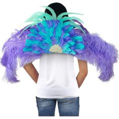 Blue & Purple Samba Carnival Wings x Halloween Costume Accessories, Halloween Costume Shop, Halloween Costumes For Kids, Jamaican Carnival, Fabric Feathers, Oktoberfest Halloween, Carnival Outfits, Carnival Festival, Festival Costumes