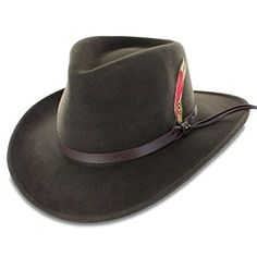 8d336fab952 Buy Hats in the Belfry Belfry Expedition Men s 100 Percent Wool Felt Outback  Safari Hat in Black or Olive