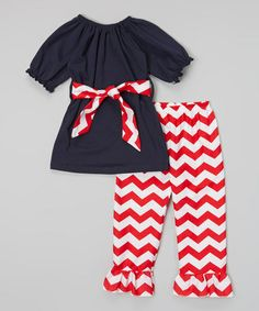 Another great find on #zulily! Navy Top & Red Zigzag Pants - Toddler & Girls #zulilyfinds