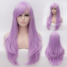 long purple wigs, Long Straight Sideswept Bangs Full Head Wig Breathable Synthetic Anime Cosplay Party Dress Up Wig Daily Basic Hair for Women Plus Free Wig Cap