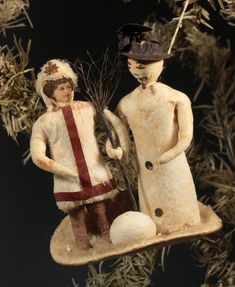 C. 1900 COTTON WOOL SNOWMAN AND GIRL ORNAMENT