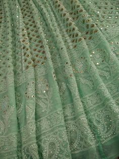 A Semi stitched green anarkali with chikan embroidery embellished with ring mukaish work. The front and back of anarkali have same work all over. Desi Wedding Dresses, Indian Wedding Outfits, Indian Outfits, Indian Designer Suits, Designer Salwar Suits, Designer Dresses, Anarkali, Lehenga, Sabyasachi