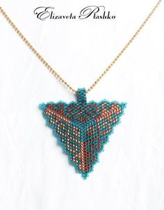 like the peyote bail Seed Bead Necklace, Seed Bead Jewelry, Beaded Jewelry, Triangle Pattern, 3d Triangle, Peyote Patterns, Beading Patterns, Beads Pictures, Peyote Stitch