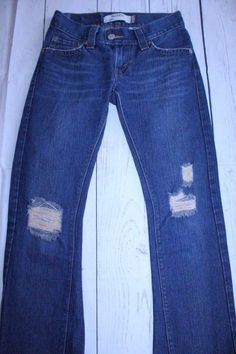 Levi's Pants 1M Dark Wash Blue Slouch 504 Flare Factory Ripped Low Rise Denim #Levis #BootCut