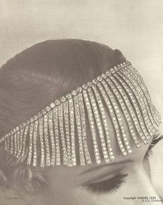 Rhinestone bangs? I am mesmerized.  1932 Collection - House of Chanel (French, founded 1913) - Design by Coco Chanel