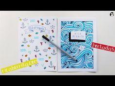 Ideas de PORTADAS para CUADERNOS. DECORAR LIBRETAS con dibujos de olas - YouTube
