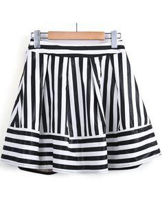 Falda volante polipiel rayas-Blanco y negro EUR€21.72