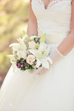 lilly white pink wedding bouquet