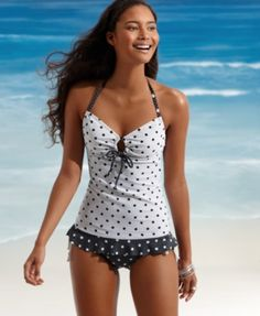 Hula Honey Swimsuit, On The Spot Side Tie Bottom Women's Swimsuit - Tankini- shoulda had this for my wedding!