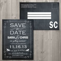 Vintage Chalkboard Save the Date - DIY Printable Save the Date Card, Postcard, or Magnet