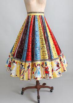 Vintage 1950s Egyptian Hieroglyphs Circle Skirt