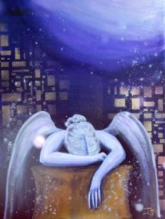 Photo Motion Video of Crying Angel Painting Modern Angel Art by Terra Somnia Art Acrylic Paintings, Original Paintings, Angel Paintings, Crying Angel, Angel Art, Canvas Size, Angels, Spirituality, Sky