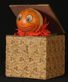 Antique German Halloween Pumpkin Head Jack in The Box C1920 | eBay