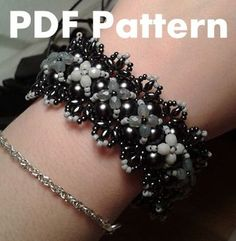 PDF-file Beading Pattern Tattered Lace Bracelet PDF-file Beading Tutorial by HoneyBeads1