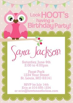 15 Free Printable Birthday Invitations You Can Print: Owl Themed Birthday Party Invitations by How to Nest for Less