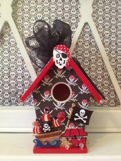 PIRATE SHIP - Handmade Wood Birdhouse Ornament Decoration w Skull, Crossbone, Treasure n Sword - Red n Black Gift 4 Birthday Boy (BH318) via Etsy